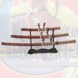 Set 3 espadas Tsuba Pavo Real Marron